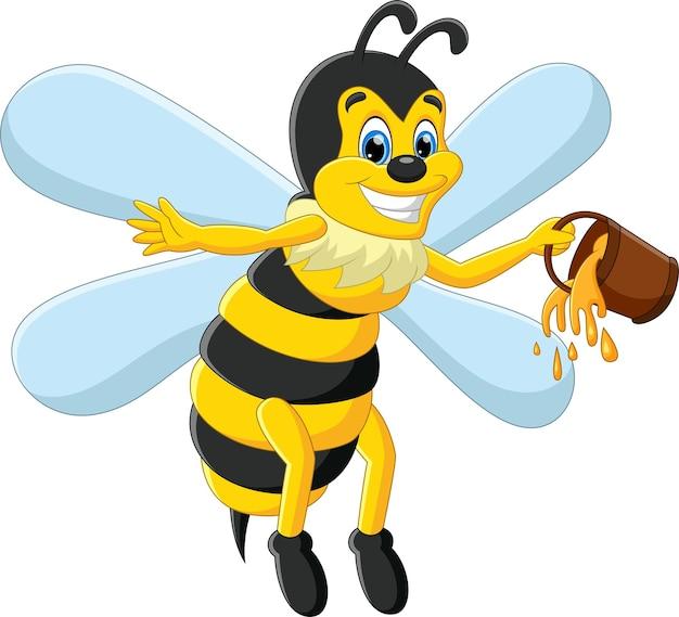 Cartoon süße biene mit honig in einem eimer