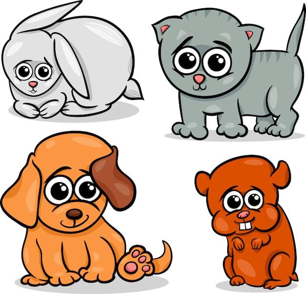 Cartoon süße haustiere tiere legen