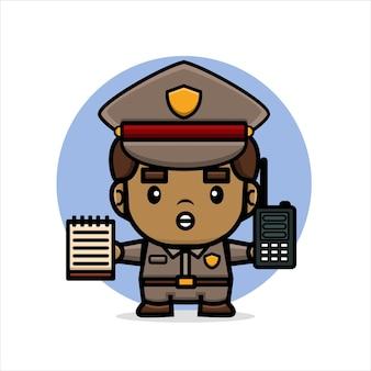 Cartoon süße polizei hält walkie-talkie und memo me