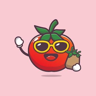 Cartoon süße tomate mit einkaufstasche