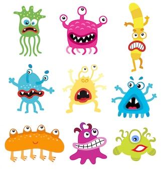 Cartoon süße und lustige monster und bakterien-pack