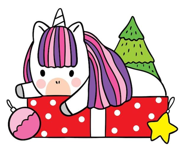 Cartoon süße weihnachten und guten rutsch ins neue jahr einhorn und geschenke vektor