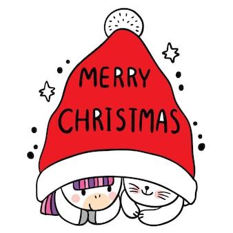 Cartoon süße weihnachten und guten rutsch ins neue jahr katze und einhorn im gnome-hut-vektor