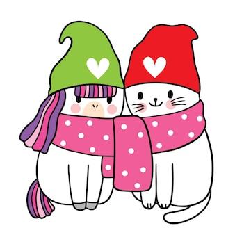 Cartoon süße weihnachten und guten rutsch ins neue jahr katze und einhorn und katze im schalvektor