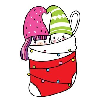 Cartoon süße weihnachten und guten rutsch ins neue jahr katze und einhorn und katze in großen socken vektor