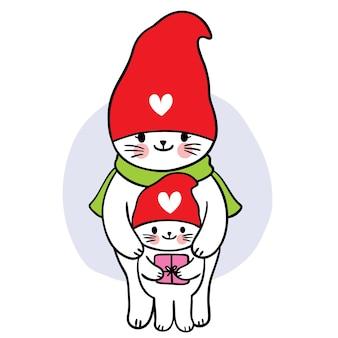 Cartoon süße weihnachten und guten rutsch ins neue jahr mama und babycat und gnome hut vektor