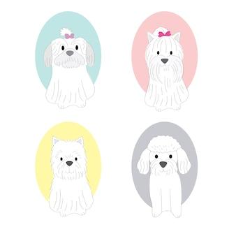 Cartoon süße weiße hunde