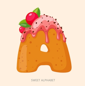 Cartoon süßigkeiten alphabet. buchstabe a.