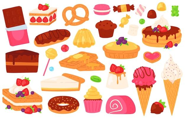 Cartoon-süßwaren-süßigkeiten. schokoladenkuchen, cupcake, süßes gebäck und pfannkuchen, eis, gelee und eclair. dessert-essen-vektor-set. illustration pfannkuchen und brötchen, karamell und makronen
