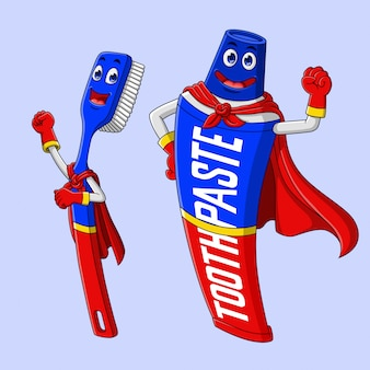 Cartoon superheld zahnbürste und zahnpasta