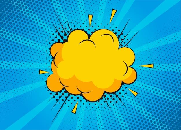 Cartoon-superhelden-blasendialogszenen auf blauem hintergrund. lustige comic-sammelalbum-seite mit wolke und sprechblase. comic-seitenlayout. symbole und soundeffekte.