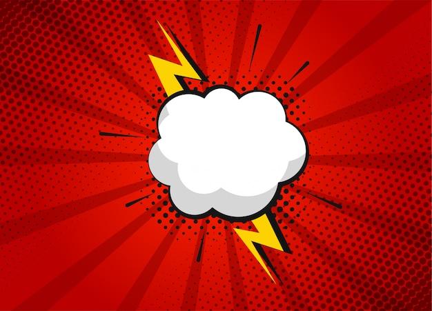 Cartoon-superhelden-blasendialogszenen und soundeffekt auf rotem hintergrund. lustige comic-sammelalbum-seite mit wolke und sprechblase. comic-seitenlayout. symbole und soundeffekte.