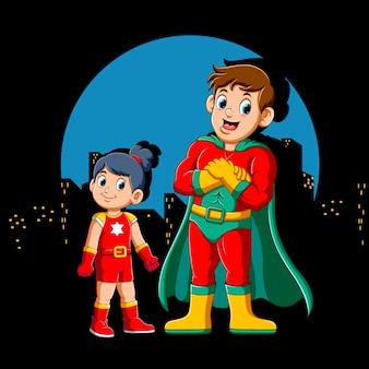 Cartoon superhero man und seine tochter
