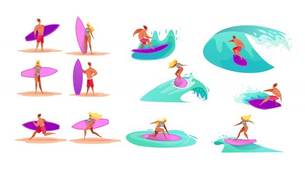 Cartoon surfer mädchen und jungen eingestellt. attraktive junge frauen und hübsche männer, die im sommer wellen auf surfbrett im badeanzug reiten. menschen im ozeanurlaub. hawaii aktive leute im tropischen resort.