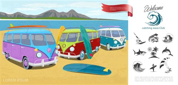 Cartoon-surfing-sportkonzept mit surf-lieferwagen nahe fluss-windsurfing-meereswellen-haifischdelfinpalmen-kitesurf-symbolillustration