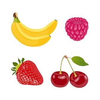 Cartoon-symbol mit gesetzten früchten isoliert weiß auf weißem hintergrund vektor-set
