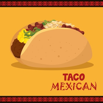 Cartoon taco essen mexiko design isoliert