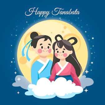 Cartoon tanabata illustration