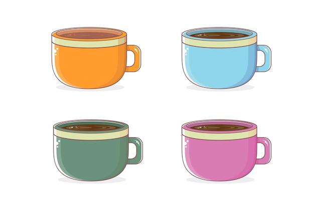 Cartoon tassen tee oder kaffeetassen set