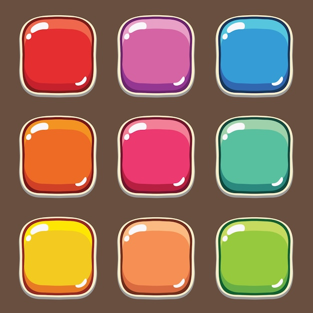 Cartoon-taste gesetztes spiel, gui-element für handy-spiel