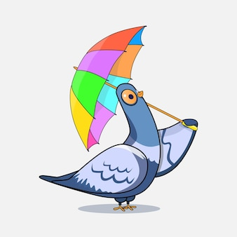 Cartoon-taube mit regenschirm