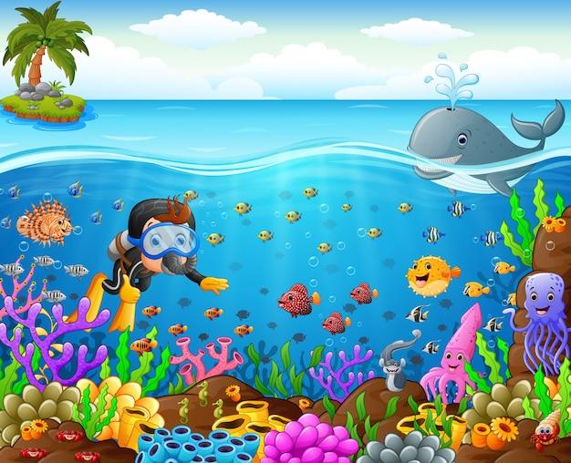Cartoon taucher unter dem meer