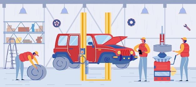 Cartoon-techniker in uniform change car wheel
