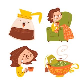 Cartoon-tee- und kaffeezeit-aufklebersammlung