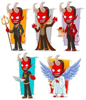 Cartoon teufel und böse engel zeichensatz