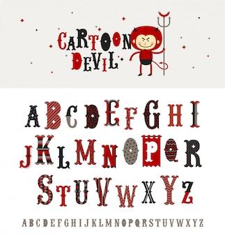 Cartoon teufel - verzierte schrift im retro-stil. alphabet. schriftart eingestellt.