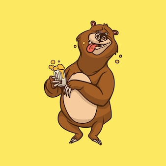 Cartoon tier design bär trinkt bier niedlichen maskottchen logo