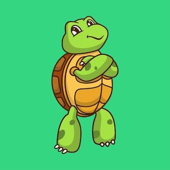 Cartoon tier design coole schildkröte niedlichen maskottchen logo