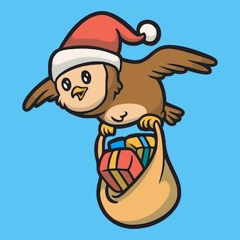 Cartoon tier design die eule trägt einen weihnachtsmann hut und trägt eine geschenk tasche süßes maskottchen