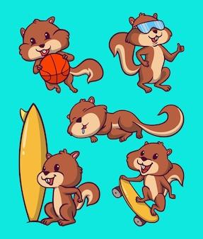 Cartoon tier design eichhörnchen spielen basketball, tragen schutzbrille, schlafen, surfen und niedlichen maskottchen illustration skateboard