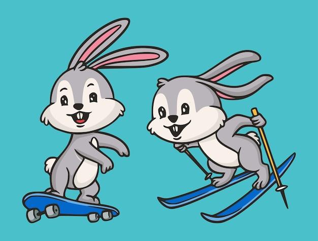 Cartoon tier design kaninchen skateboarding und snowboarding niedlichen maskottchen illustration