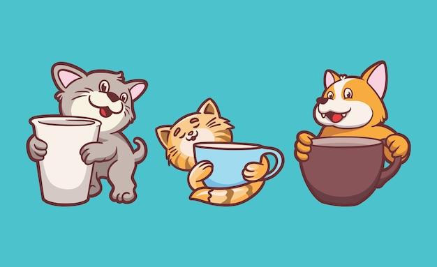 Cartoon tier design katzen und hunde halten trinkbecher niedliche maskottchen illustration