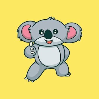 Cartoon tier design koala posiert daumen hoch niedlichen maskottchen logo