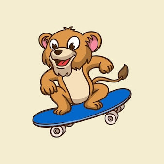 Cartoon tier design löwe skateboarding niedlichen maskottchen logo