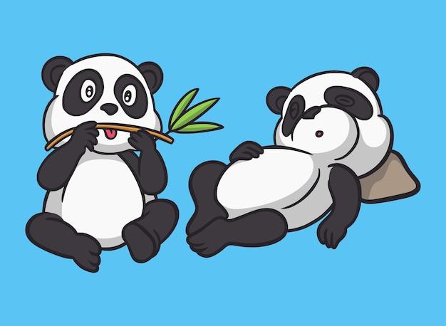 Cartoon tier design panda isst bambus und der panda schläft niedliches maskottchen