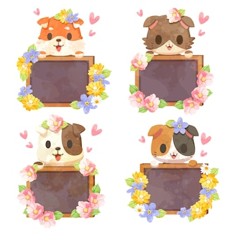 Cartoon tier hund und katze mit schild, set mit süßen tieren mit tafel und holzrahmen