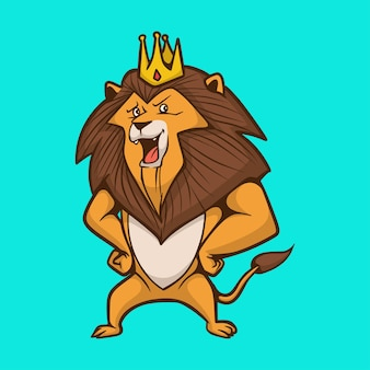 Cartoon tier löwe trägt eine krone niedlich maskottchen logo