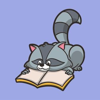 Cartoon tier waschbären lesen bücher niedlichen maskottchen logo