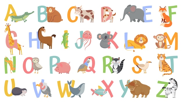 Cartoon tiere alphabet für kinder. lerne buchstaben mit lustigem tier, zoo abc und englischem alphabet für kinder