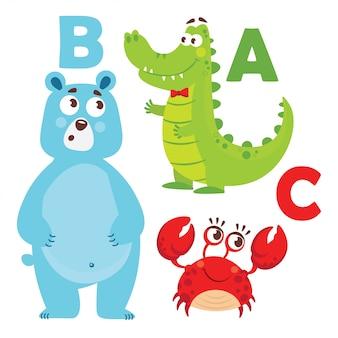 Cartoon tiere alphabet