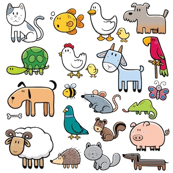 Cartoon tiere festgelegt