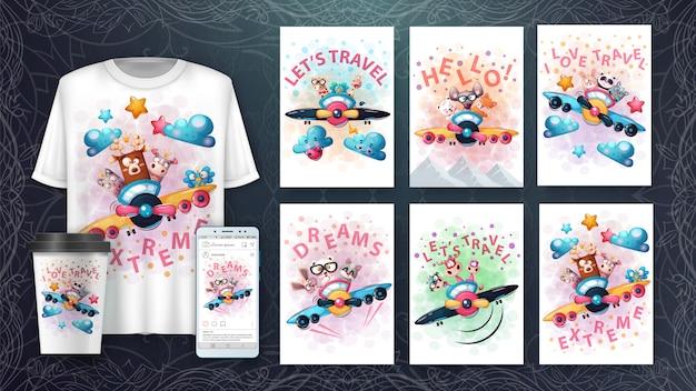Cartoon tiere poster und merchandising