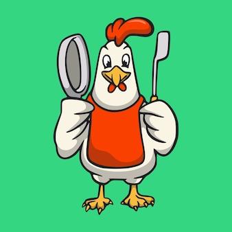 Cartoon-tierhähne werden zum niedlichen maskottchen-logo des küchenchefs
