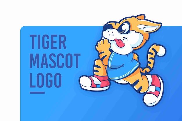 Cartoon tiger maskottchen logo