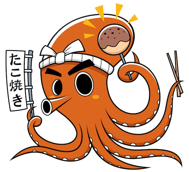 Cartoon tintenfisch chef takoyaki. japanwording bedeutungen: takoyaki
