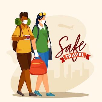 Cartoon tourist mann und frau tragen schutzmasken mit taschen auf beige hintergrund für sicheres reisen.